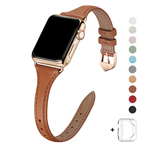 WFEAGL Leather Bands Compatible with Apple Watch 38mm 40mm 42mm 44mm, Top Grain Leather Band Slim & Thin Replacement Wristband for iWatch Series 5 & Series 4/3/2/1 (Brown Band+Gold Adapter, 38mm 40mm)