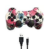 PUNING Wireless Controller for PS3 Witch Cable(Red Flower) (Color: Red Flower)