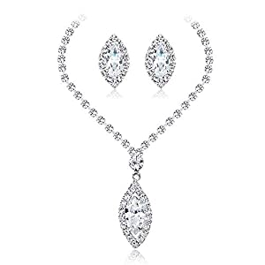 Jewelry Set for Women Necklace Earrings Tears Of Angels Diamond Crystal Elegant Women Jewellery Set Of Crystal Pendant Necklace Earrings Earrings Necklace Set (Color : White, Size : Free size)