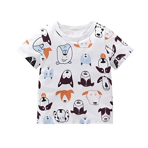 Old Navy Dog - ❤️ Mealeaf ❤️ Toddler Baby Boy Girl Kid Short Sleeve Cartoon Dog Printed Tops T-Shirt Clothes(White,100)