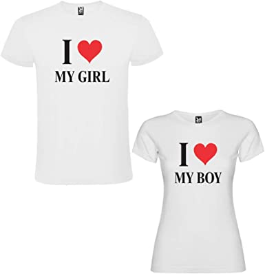 Pack de 2 Camisetas Blancas para Parejas, I Love My Boy y I Love My Girl, Negro: Amazon.es: Ropa y accesorios