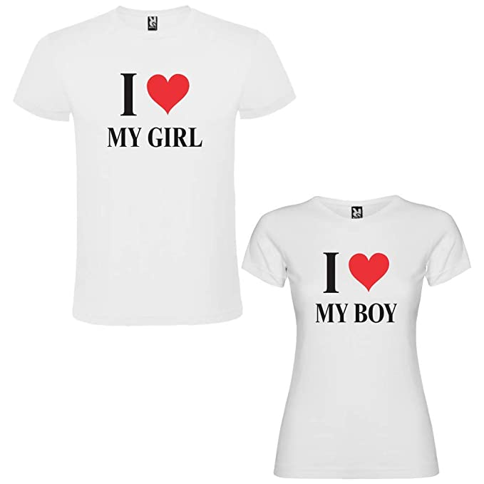 Pack de 2 Camisetas Blancas para Parejas, I Love My Boy y I Love My