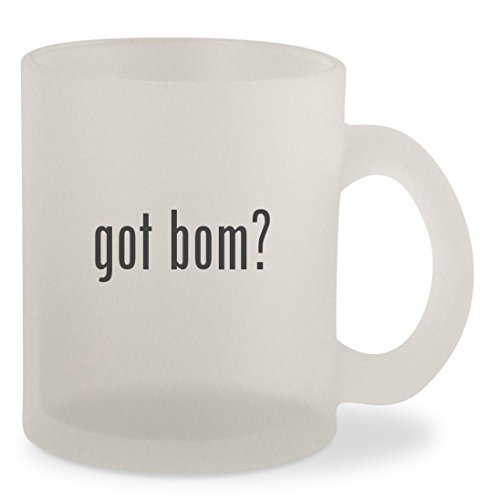 got bom? - Frosted 10oz Glass Coffee Cup (Bali Silver Hat)