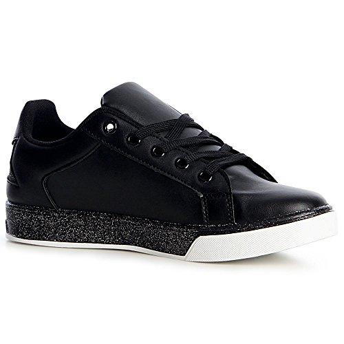 Chaussures Sneaker Femmes Sport De Noir Topschuhe24 Cxw5POTvnq
