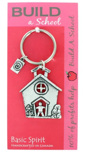 Global Giving Build A School Hand Crafted Pewter Keychain - Teacher Appreciation Gift (School House)
