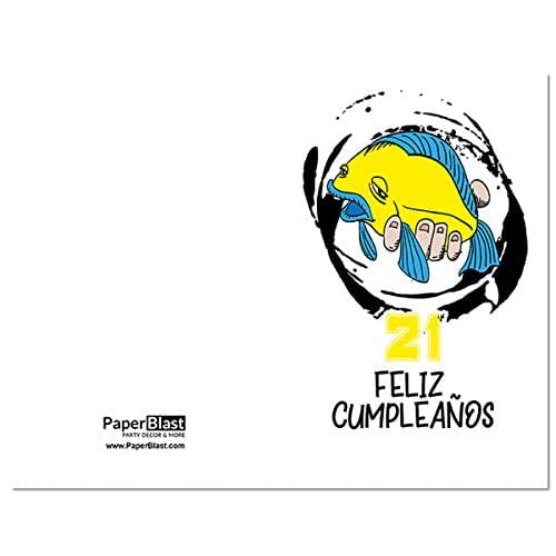 Amazon.com: Fish Feliz Cumpleanos 21st Birthday Card in ...