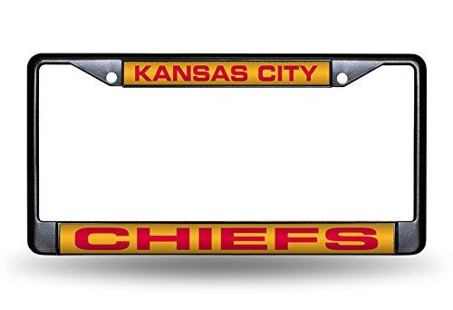 094746810955 6 x 12.25 Rico Industries NFL Kansas City Chiefs Laser Cut Inlaid Standard Chrome License Plate Frame Black 6 x 12.25 Inc
