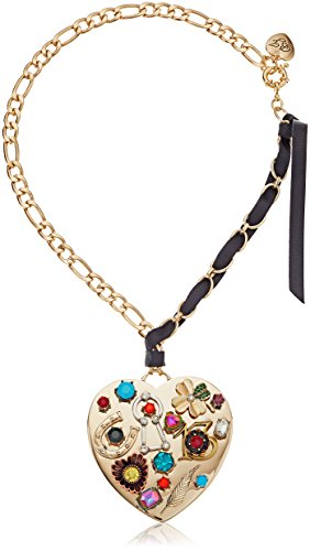 Betsey Johnson Mixed Multi-Charm Heart Pendant Necklace, 18