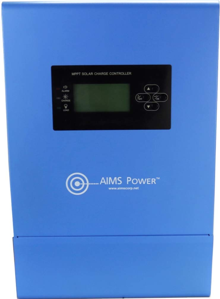 AIMS Power SCC80AMPPT 80 Amp MPPT Solar Charge Controller; Charges 12, 24, 36 and 48 Volt Solar Systems; 4 Stage Charging; Battery Type Selector; Stackable; Over Temp Protection