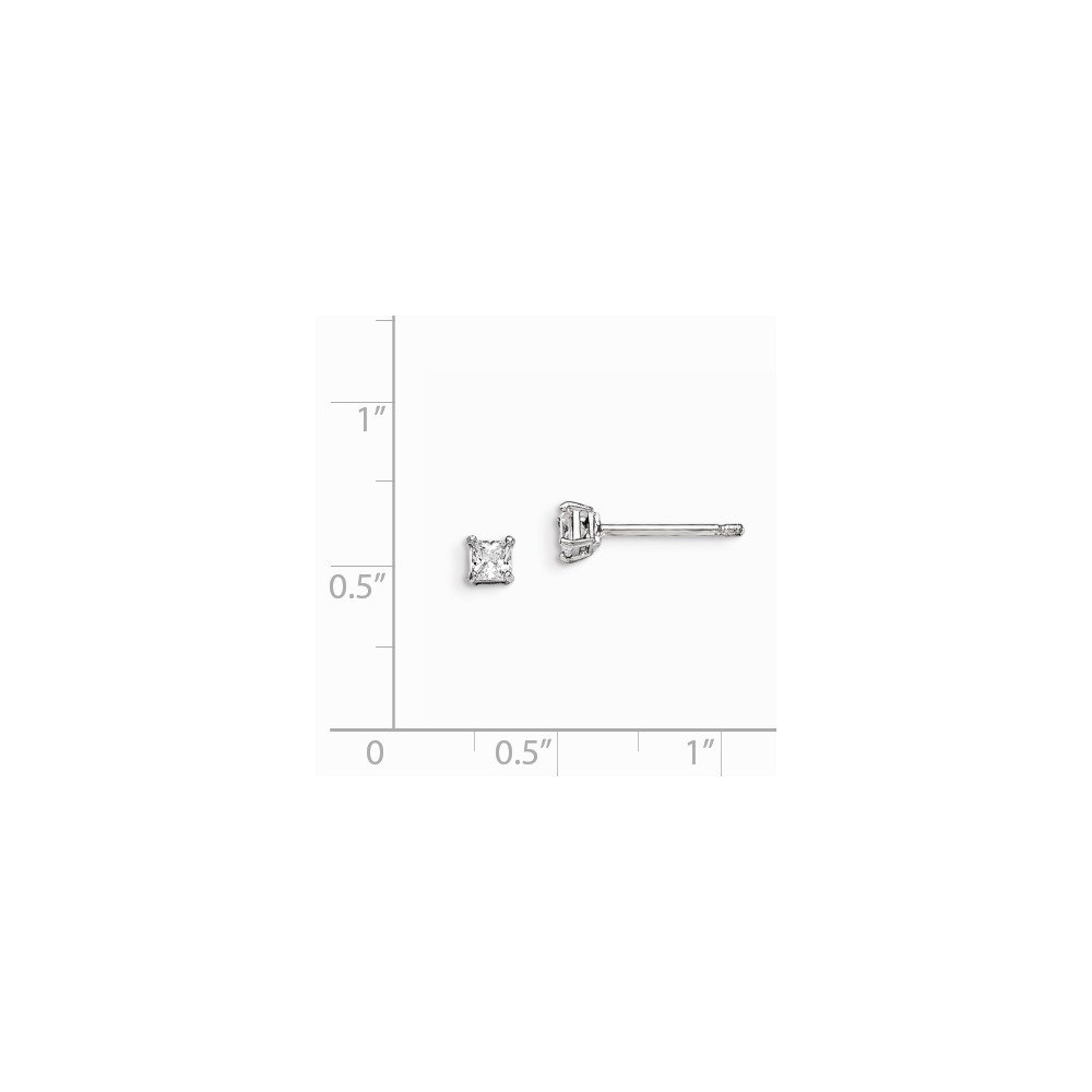Sterling Silver Rhodium-plated Madi K 3mm Square CZ Stud Earrings