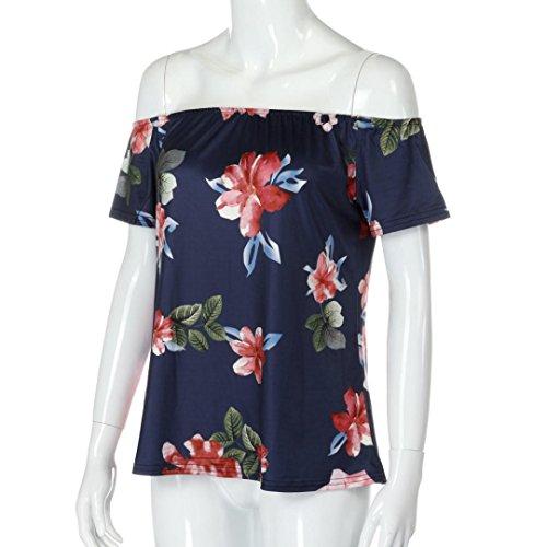 Winwintom Moda mujer dama hombro floral impreso blusa Casual Tops T Shirt Blouse