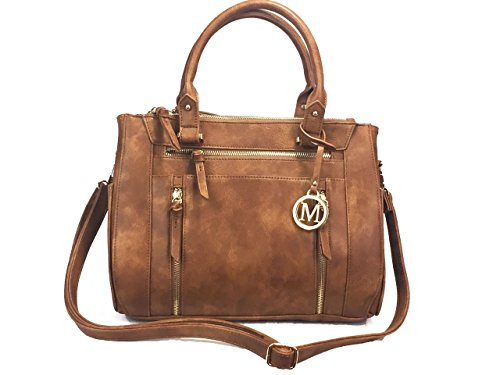 ZzFab Multi Zippers Fashion Locking Faux Leather Concealed Carry Gun Shoulder Bag Brown