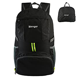 Mengar Backpack Daypack,Travel Backpack, 35L Foldable Water Resistant Packable Backpack Hiking Daypack - Ultralight Handy 112 Backpack Daypack,Travel Backpack,Handy and lightweight-Stuff the bag into its own pocket for storage.No extra fees, and unzip it when you reach your destination. 35L Large enough to carry what you need in the trip. Outer bigger pocket great for iPad or Magazine. Outer smaller pocket great for quick access such as guide books and camera. Perfect for day trips-Also perfect for vacation, travel, day hikes, school, camping and shopping. Experience makes the most comfortable wide breathable mesh shoulder straps. Easy to adjust the length and lock firmly. Unparalleled Quality-The backpack is made from highly rip and water resistant nylon fabric, provide strengthen and long-lasting performance with minimal weight. Stress points are reinforced with bar tacking for increased longevity. Durable 2-way Abrasion Resistant SBS Metal Zipper across the backpack.