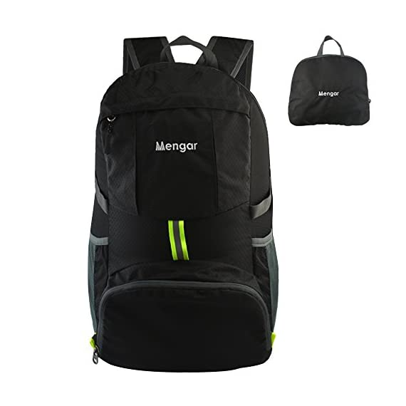 Mengar Backpack Daypack,Travel Backpack, 35L Foldable Water Resistant Packable Backpack Hiking Daypack - Ultralight Handy 1 Backpack Daypack,Travel Backpack,Handy and lightweight-Stuff the bag into its own pocket for storage.No extra fees, and unzip it when you reach your destination. 35L Large enough to carry what you need in the trip. Outer bigger pocket great for iPad or Magazine. Outer smaller pocket great for quick access such as guide books and camera. Perfect for day trips-Also perfect for vacation, travel, day hikes, school, camping and shopping. Experience makes the most comfortable wide breathable mesh shoulder straps. Easy to adjust the length and lock firmly. Unparalleled Quality-The backpack is made from highly rip and water resistant nylon fabric, provide strengthen and long-lasting performance with minimal weight. Stress points are reinforced with bar tacking for increased longevity. Durable 2-way Abrasion Resistant SBS Metal Zipper across the backpack.