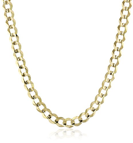Men's 14k Yellow Gold 7mm Cuban Chain Necklace, 24'' by Amazon Collection