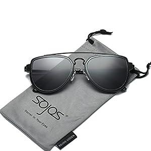 SojoS Fashion Aviator Sunglasses Polarized Mirrored Lens Double Bridge SJ1051 Black Frame/Grey Polarized Lens