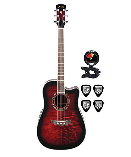Ibanez PF28ECE Performance 6 String Right Handed Dreadnought Body Acoustic Electric Guitar Package with Clip On Tuner for Guitars and Guitar Cable (Electric Guitar Bundle in Red Sunburst)
