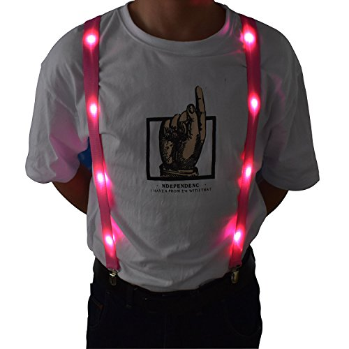 LED Glow Light Up Suspenders Trouser Braces Y Shape Suspenders (Pink) + Keychain