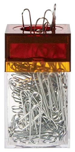 AMAC ClipMaster Magnetic Paper Clip Holder with About 100 Chrome Paper Clips - Crystal Clear Base with Transparent Ember Lid