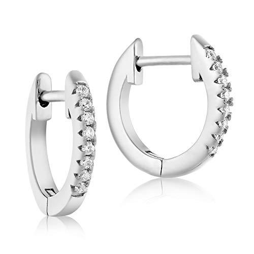 Lusoro 925 Sterling Silver Single Row AAA Cubic Zirconia Pave' Huggie Hoop Earrings