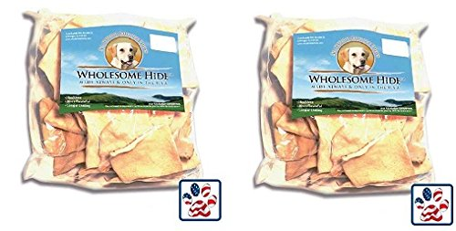 Premium USA Beef Hide - Chips 1 lb (Pack of 2) by Wholesome Hide