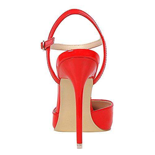 Damen Mund sexy Stil Sandalen europäischer Sandalen hohem amerikanischer Silber und Lackleder mit sexy dünn Nachtclub schlicht spitz aus XIAOQI mit LIANGXIE vx6qwH5n