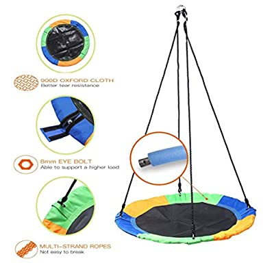 XEDUO Swing, 40'' Saucer Tree Swing Flying 660lb Multi-Strand Ropes Colorful and Safety Swing: Toys & Games