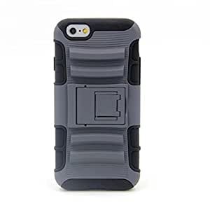 iPhone 6 Case, iPhone 6 Armor cases- Tough Dual Layer Hybrid HardSoft Protective Case with Belt Clip Holster and Kickstand - Gray