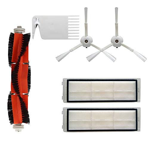 (SAQIMA Vacuum Spare Part Side Brush+HEPA Filter+Main Brush +Main Brush Cover Tool Kit for XIAOMI Mi Robot)