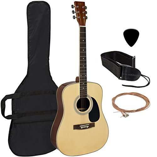 Acoustic Guitar 41″ Full Size Natural Includes Guitar Case, Strap and More
