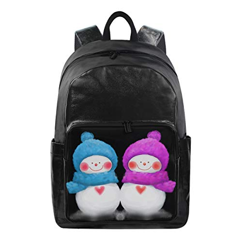 Mr.Brilliant Couple Cute Snow Man Canvas Backpack Bag White Smile Face Blue And Pink Childish Funny Casual Rucksack Bookbag Travel Laptop Outdoor 3-Day Backpack for Men Women 2060579