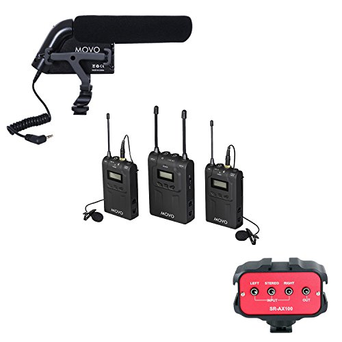 - Movo Recording Enhancement Kit with UHF Wireless Lavalier Microphone System, Shotgun Condenser Video Microphone, and 2 Channel 3.5mm Audio Adapter for DSLR Cameras & Camcorders