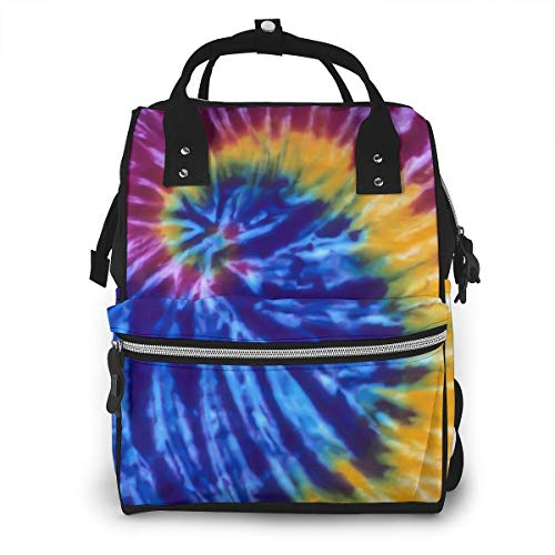 Large Diaper Bag Backpack, Anti-Water Maternity Nappy Bags Changing Bags with Stroller Straps, Colorful Tie-Dye Printed Fashion Bookbag
