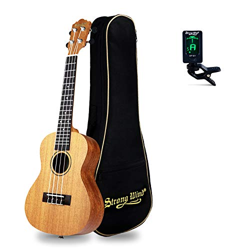 23in Concert Ukulele Starter Kit, Strong Wind Mahogany Body Hawaiian Ukeleles for Beginners, Professional Music Instrument Beginners Kit with Gig Bag, Tuner