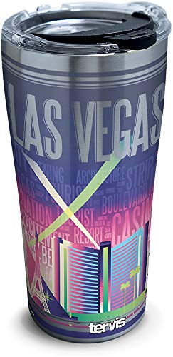 Tervis 1307902 Nevada-Las Vegas Skyline Stainless Steel Insulated Tumbler with Clear and Black Hammer Lid, 20oz, Silver