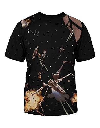 Star Wars Kids T Shirt X-Wing Fighter Galaxy All Over Print Official Mens Black Size Small (5-6 yrs)