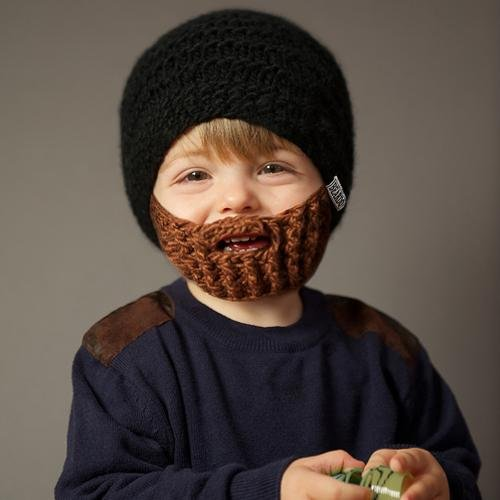 Beardo Kids Detachable Beard Hat, Black Brown