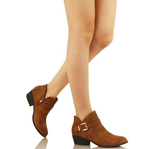 Guilty Schuhe Damen Blockabsatz Geschlossene Zehe - Riemchen Stiefeletten Tanv2 Nubuk