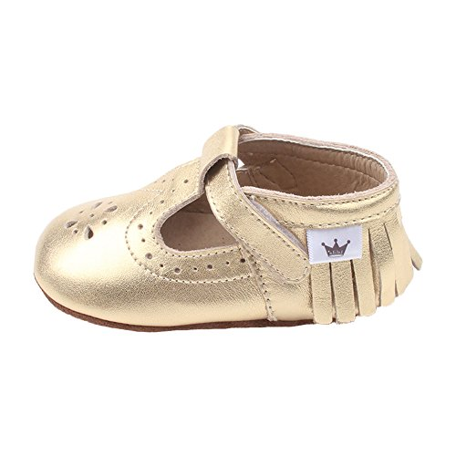 Liv & Leo Baby Girls Mary Jane Sandals Moccasins Soft Sole Crib Shoes Slip-On Leather (12-18 Months, Gold (Gold Mary Jane Shoes)