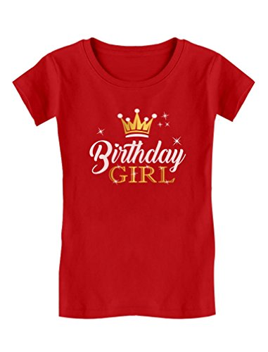 - Birthday Girl Party Shirt Princess Crown Girls Fitted T-Shirt M (7/8) Red