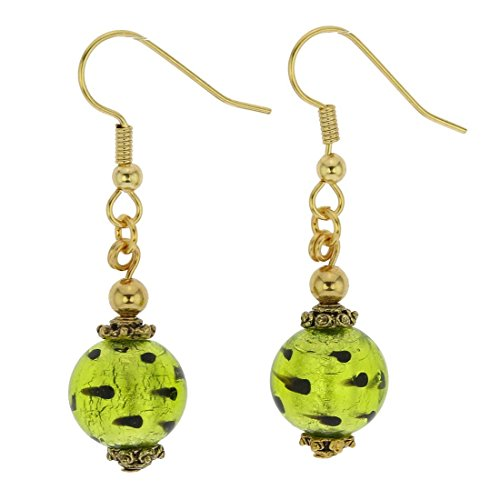 GlassOfVenice Murano Glass Antico Tesoro Balls Earrings - Spotted Green ()