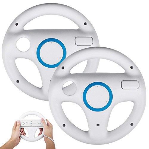 PowerLead Wii Controller White Steering Mario Kart Racing Wheel Game Controller for Nintendo Wii Remote Game-White(2 PCS)
