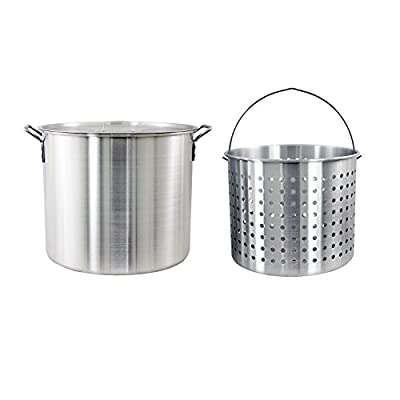 CHARD ASP60 Aluminum Stock Pot and Strainer Basket Set, 60 Quart