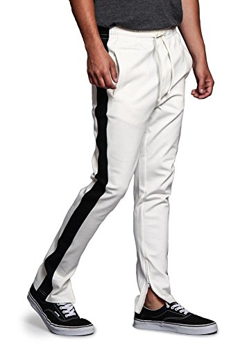 (G-Style USA Men's Premium 4-Way Extra Stretchy Ankle Zip Contrast Outer Side Stripe Slim Fit Drawstring Track Pants TR526 - Off-White/Black - X-Large - G15B)