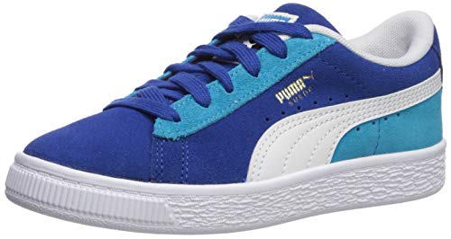 PUMA Boys' Suede Classic Sneaker, Surf The Web White-Caribbean sea, 12 M US Little Kid