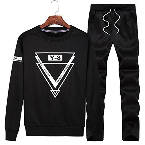 Pullover Lee Sports - Snowman Lee Men's Plus Size Athletic Tracksuit Casual Warm Fit Jogging Pullover Sweat Suit Set Black XXXXL