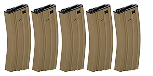 Box of 5 - Gen2 LT-01B Metal M4/M16 300 Round Hi-Cap AEG Airsoft Magazine (Tan) ()