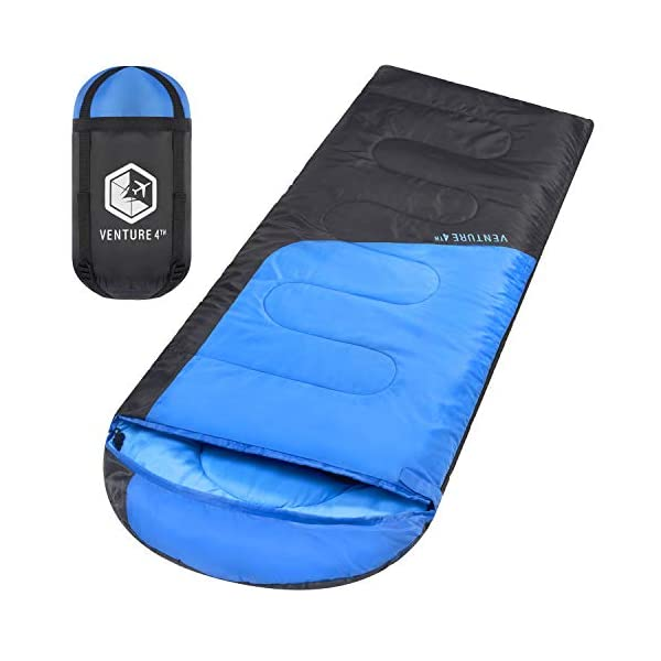 Backpacking Sleeping Bag - Lightweight, Comfortable, Water Resistant, 3 Season Sleeping Bag for Adults & Kids - Ideal for Hiking, Camping & Outdoor Adventures - Regular Size 3