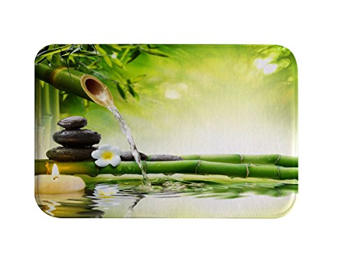 DENGYUE Asian Style Green Bamboo Leaves Bathmats, Natural Scene Pattern 3D Print Machine Washable Memory Foam Quick Dry Mildew Free Indoor Ourdoor Floor Mat