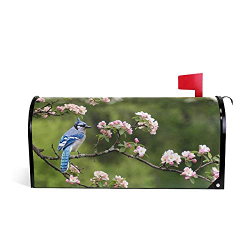 ZZKKO Mailbox Decor Spring Flower a Bluejay Sitting on Cherry Blossom Mailbox Covers Magnetic Seasonal Colorful Pattern Home Houses Letter Box Cover Decorations,20.8x18 Inch Standard Size,Multicolor Blossoms Magnetic Mailbox Cover